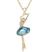 Korean Fashion Austrian crystal pendant necklace female ballet girl cute pendant 1068 ( multicolor )