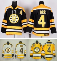 Cheap Boston Bruins #4 Bobby Orr CCM Vintage Ice Hockey Jerseys yellow, white,black throwback Jersey,all Stitched!