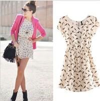 2014 NEW European Famous brand bird print short-sleeved vestidos dress big size ladies high waist women summer dress 2014