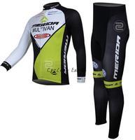Free shipping! Merida 2014 #3 long sleeve cycling jersey pants bicycle bike riding cycling autumn wear clothes set+gel pad