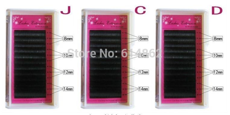 3box Mink Eyelash Mixed type (J, C, D)( 8/10/12/14mm)extension soft black curl type artificial eyelash False Eye Lash Eyelashes(China (Mainland))