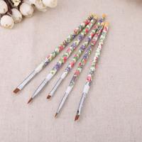 Hot sale Nail brushes Fashion New 5PCS/set Nail Art Wood UV Gel Salon Pen Flat Brush Kit Dotting Nail styling Tools