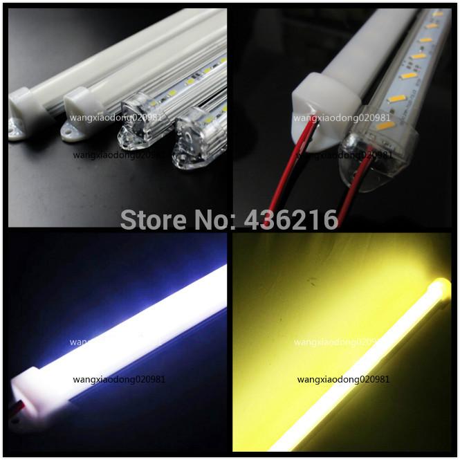 10pcs 50cm 7020 White Warm White 36 SMD LED strip Light Aluminum case milk clear white cover end cap 12V(China (Mainland))