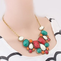 Bohemia Europe and exaggerated retro Color resin fashion women's personality folk style hit color necklaces wholesale