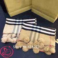 Hot Sale 2014 Fashion Brand Designer Winter Scarf Women Cashmere Plaid Scarves Lady Shawl desigual furry balls scarfs