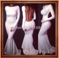 Fashion Women Evening Club Party Bandage Bodycon Elegant  Sexy backless Trumpet  dress