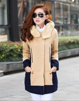 new 2014 European and American women's winter was thin woolen coat thick lamb's wool hooded coats hit color stitching plus size