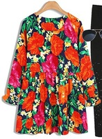 HIGH QUALITY 2015 Catwalk Model Stage Show Empire Bohemian Puff Sleeve Dress Floral Print O-neck Plus Loose Size One Piece Dress