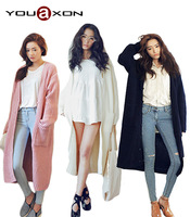 1661 YouAxon Free Shipping Autumn Winter Plus Size Casual Tricot Long Cardigan Woman Knitted Cardigans for Women a+ Sweater