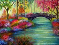 Frameless Colorful Scenery Bridge Water Trees Painting By Numbers Acrylic Oil Painting Drawing Canvas Painting Home Decoration