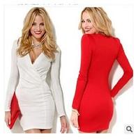 Sexy Deep V Neck Women Bodycon Dress,Long Sleeve One-piece Mini Office Dress Underslip White Red Vestidos Femininos Work Wear