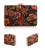 Women messenger shoulder bags clutch rhinestone evening bags with floral vintage evening bag wedding handbags