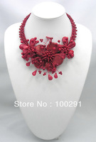 @ 684120 Natural Red Coral Wired Flower Necklace Earrings Set 16""