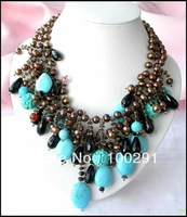 3ROW COFFEE ROUND FW PEARL turquoise agate NECKLACE  MOON 888