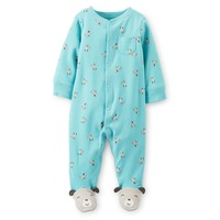 Carters Baby Girls 1-Piece Romper,Cotton Sleep And Play Romper,Sky Blue Dog Pattern Baby Girls Jumpsuit,Freeshipping,In store