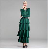 Europe Elegant Evening Party Cake Layered Long Dress Women's Vintage Plus Size 3XL Long Sleeve Brief Floor Length Dresses Green