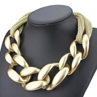 High quality 2014 fashion big link chain bib statement necklace Matte gold for women