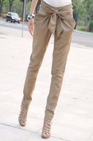 Plus Size Korean 2014 New Summer Women's Slim Elegant Pencil Pants Wild Fashion Casual Capris Pants Bow Harem Trousers