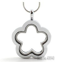 2015 New ! flower necklace pendant glass floating charms locket Zinc Alloy  3 color options chains included for free FL024