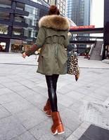 winter jacket women coats thick new 2015 winter coat women parkas army green Large raccoon fur collar hooded coat woman outwear