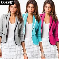 New 2014 Fashion Autumn Slim Style Short Ladies Candy Color Women Blazers European Style Slim Women Coat Free Shipping n5037