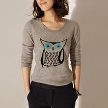 Envío libre del otoño y del invierno 100% de la cachemira búho mujeres del suéter marca mujeres suéteres y jerseys mujeres del o-cuello del suéter(China (Mainland))