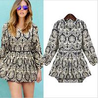 New European and American fashion casual female Slim collar chiffon dress F032