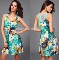 New 2015 Summer Women Sexy V-Neck Butterfly Print Sleeveless Lace Pleated Mini Dress Meryl Casual Bohemian Beach Vestidos YT1073