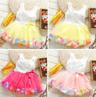 New Arrivals Beautiful 1pc Cute Girl Kids Baby Children Rose Flower Top Colorful Hemline Petal Dress Tutu Clothing 6-30M Retail