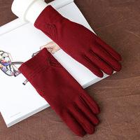 Braim women's velvet glove thermal winter thin elastic cotton type