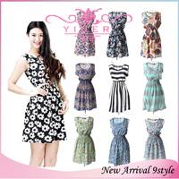 2014 Chiffon Summer Dress Floral Print Sleeveless Casual Dress Elastic Waist Bohemian Woman brazil  S-XXL womens Dresses