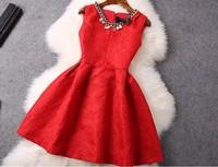 2015 Newest Spring Summer Sleeveless Beading O-neck Slim Dress Women Elgent Black Red Dobby Dress S-L Free Shipping