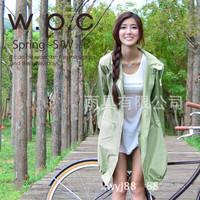 New 2014 Women WPC Outdoor Travel Waterproof Riding Clothes Raincoat Ladies Poncho Pocket Hooded Knee Long Rainwear