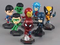 DropShipping Marvel The Avengers Superheroes Captain American Hulk X-men Spiderman Mini PVC Action Figure Toys Dolls 8pcs/set