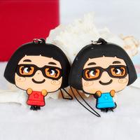 Free shipping HS050 Cartoon lovers mobile phone pendant Glasses sister design key chain 2pcs/pack 4.5*5cm