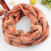 2015 New Fashion women owl print voile infinity scarf winter cotton scarves desigual brand big size soft woman scarf shawl