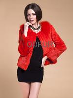 Autumn Women Fashion Genuine Real Rabbit Fur Jacket Coat  Fox Fur Neck Winter Women Fur Outerwear Coats Lady Clothing QD80186