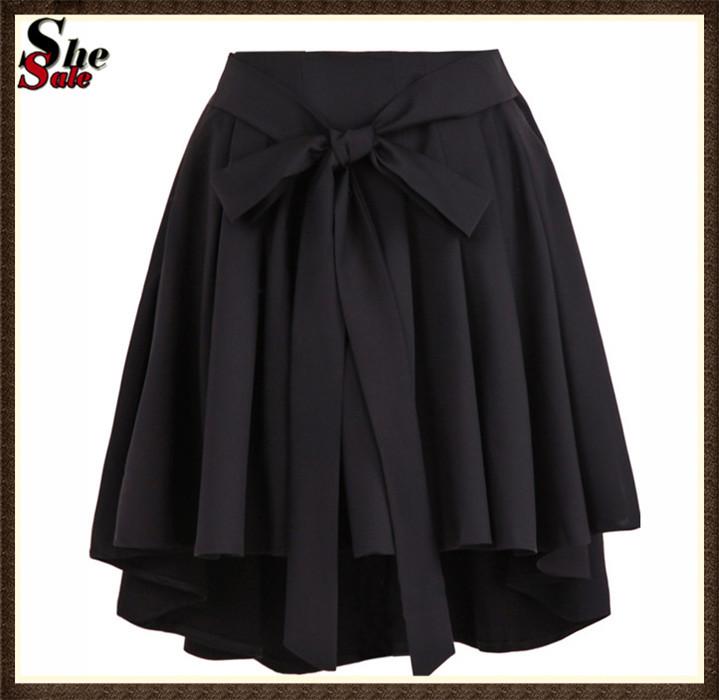 2015 Saias Femininas Summer Cheap Clothes Casual Fashion Women Brand New Black High Waist Belt Pleated Ladies Mini Skirt(China (Mainland))