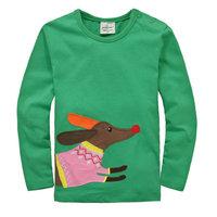 2014 New Design Tops Tees Girls Dogs T-shirt Children's Animal Clothing Green Kids Long Sleeve t-shirt Baby Printed tshirts