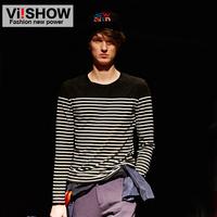 Viishow2014 long-sleeve T-shirt male vintage slim o-neck stripe fashion men's clothing long T-shirt