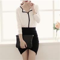 2014 New Free shipping Popular Korean Hot Style Semi Open Collar Fashion Color Bottoming Shirt