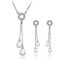 ZS020P Wholesale fine 100% Real S925 pure Sterling silver necklace earrings jewelry set