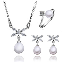 ZS009 Wholesale fine 100% Real S925 pure Sterling silver necklace earrings ring jewelry set