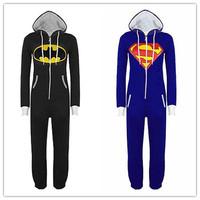 2015 Unisex Superman Batman Zip Front Jumpsuit cosplay costumes Hoodie Sleepwear Onesie Adult pyjamas