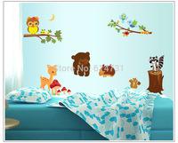 Kids' Bedroom Cartoon Wall Decor Cute Animal Friends Wall Sticker Bear Bird Deer Owl Tree Children's Room Wall Decals 60*90cm