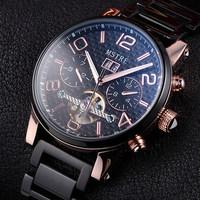 Automatic Mechanical Tourbillon Men's Big Dail Watch Original Leather Strap Sapphire Self-Wind Men Male Skeleton Wristwatches