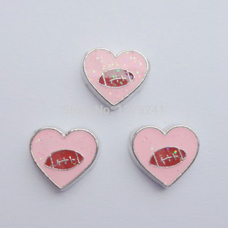 soccer in heart charms, floating charms for memory locket or living locket, 20pcs/lot ,free shipping--187(China (Mainland))