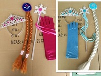 Frozen Elsa Inspired Girls Dress Up Gloves and Tiara Crown Costume Accessories Deep Blue Red Gloves