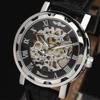 Winner Brand 2014 New Fashion Skeleton Design Style Hollow Business Leather Classic Men Mechanical Hand Wind wrist watch