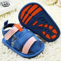 New 2014 blue plaid Boys Soft-soled sandals baby toddler shoes 11cm 12cm 13cm spring autumn children footwear first walkers
